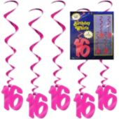 16 Pink Whirl Decorations-5 Per Unit