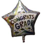 Congrats Grad Star Shaped Metallic Balloon - 18 Inch