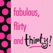 30 And Flirty Beverage Napkins - 16 Pack
