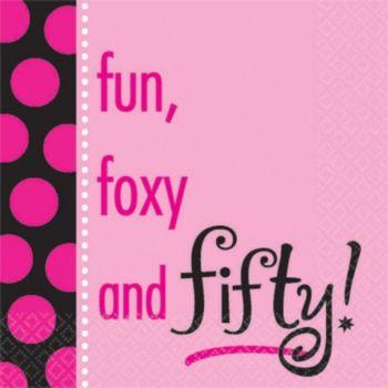 50 & Foxy  Beverage Napkins