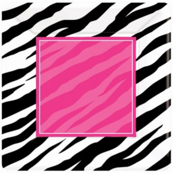 "Zebra Pink Party  7"" Square Plates"