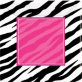 Zebra Pink Party 7'' Square Plates
