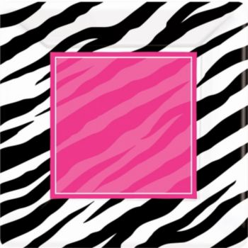 "Zebra Pink Party  10"" Square Plates"