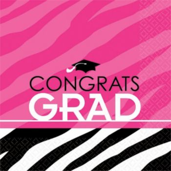 Zebra Pink Grad Lunch Napkins