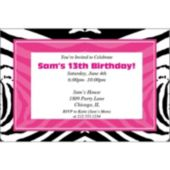 Zebra Pink Party Personalized Invitations
