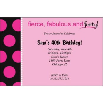 Fabulous and 40 Personalized Invitations