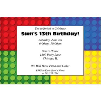 Building Blocks Personalized Invitations