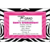Zebra Pink Grad Personalized Invitations