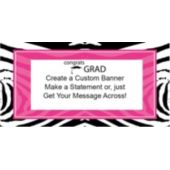 Zebra Pink Grad Party Custom Banner