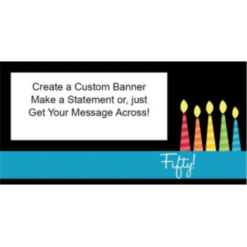 50 Happy Birthday Candles Custom Banner