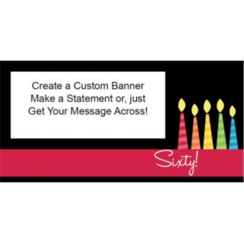 60 Happy Birthday Candles Custom Banner