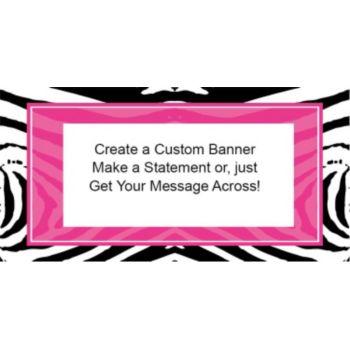 Zebra Pink Party Custom Banner