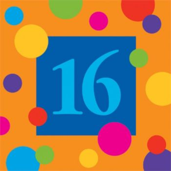 16 Birthday Stripes  Beverage Napkins