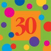 30 Birthday Stripes Beverage Napkins - 16 Pack
