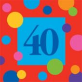 40 Birthday Stripes Beverage Napkins - 16 Pack
