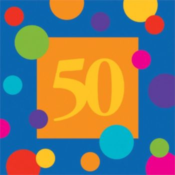 50 Birthday Stripes  Lunch Napkins