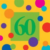 60 Birthday Stripes Lunch Napkins - 16 Pack