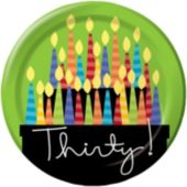 "30th Birthday Candle 8 3/4"" Plates - 8 Pack"