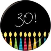 "30th Birthday Candle 7"" Plates - 8 Pack"