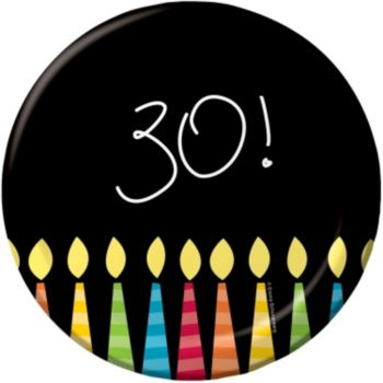 "30th Birthday Candles  7"" Plates"