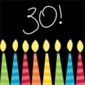 30th Birthday Candle Beverage Napkins - 16 Pack
