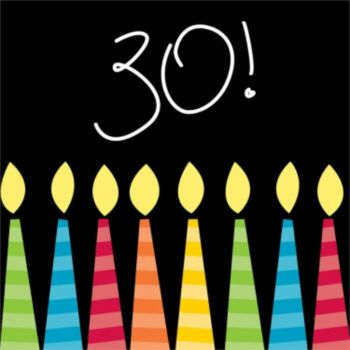 30th Birthday Candles  Beverage Napkins
