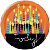"40th Birthday Candle 8 3/4"" Plates - 8 Pack"