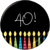 "40th Birthday Candle 7"" Plates - 8 Pack"