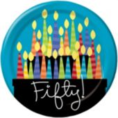 "50th Birthday Candles 8 3/4"" Plates"