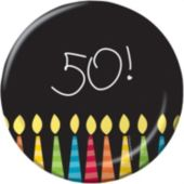 "50th Birthday Candles 7"" Plates - 8 Pack"