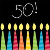 50th Birthday Candles Beverage Napkins - 16 Pack