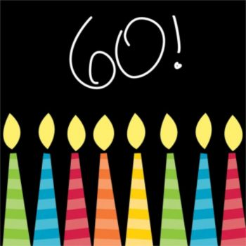60th Birthday Candles  Beverage Napkins