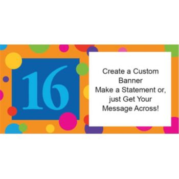 16th Birthday Dots Custom Banner