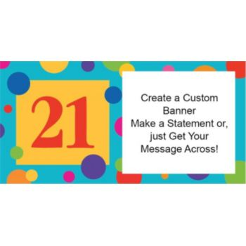 21st Birthday Dots Custom Banner