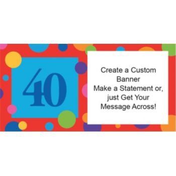 40th Birthday Dots Custom Banner
