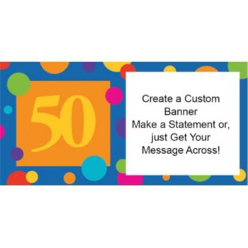 50th Birthday Dots Custom Banner