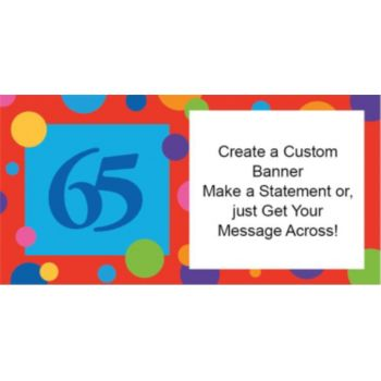 65th Birthday Dots Custom Banner