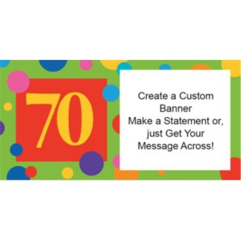 70th Birthday Dots Custom Banner