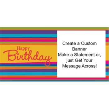 Happy Birthday Stripes Custom Banner