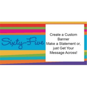 65th Birthday Stripes Custom Banner