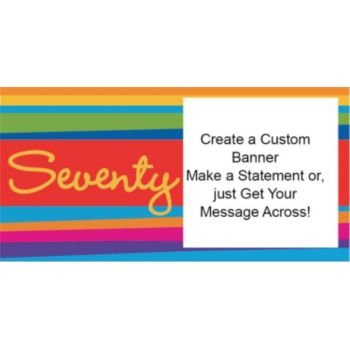 70th Birthday Stripes Custom Banner