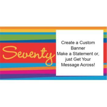 70th Birthday Stripes Custom Banner