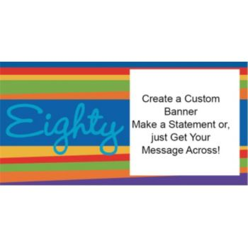 80th Birthday Stripes Custom Banner