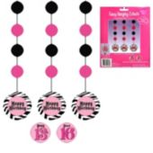 Pink Zebra Birthday Danglers-3 Pack