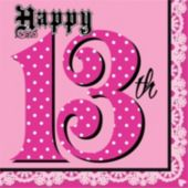 13th Birthday Pink Lunch Napkins - 16 Pack