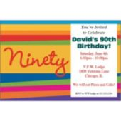 90th Birthday Stripes Personalized Invitations
