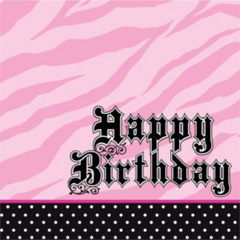 Zebra Pink Birthday  Lunch Napkins