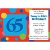 65th Birthday Dots Personalized Invitations