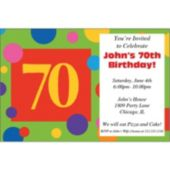 70th Birthday Dots Personalized Invitations