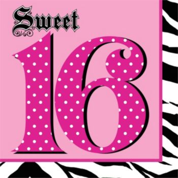 Sweet 16 Zebra Pink Lunch Napkins